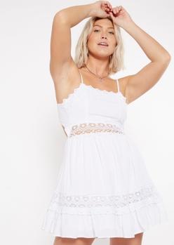 white crochet waist mini dress - Main Image