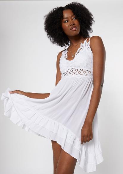 white crochet ruffle mini dress - Main Image