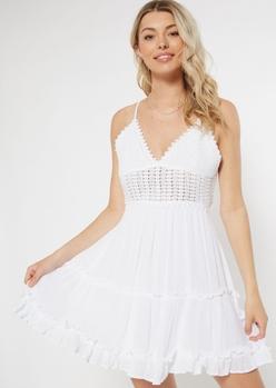 white crochet open tie back mini dress - Main Image