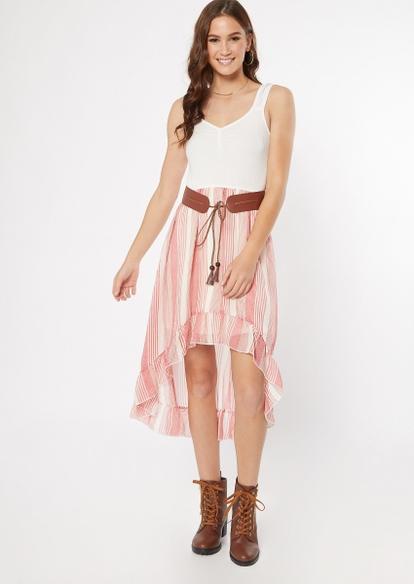 medium pink striped belted high low dress - Main Image