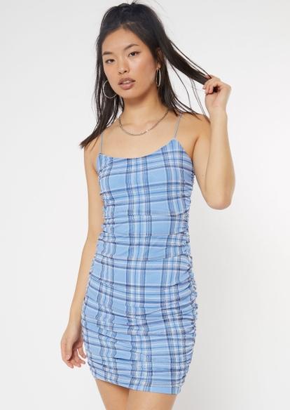 blue plaid ruched mesh dress - Main Image