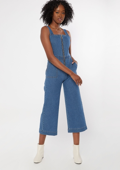 medium wash wide leg denim jumpsuit - Main Image