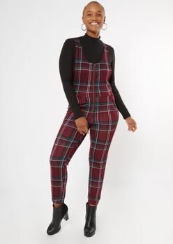 burgundy plaid zip front sleeveless jumpsuit - Main Image