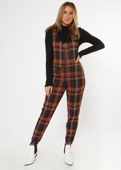black plaid zip front sleeveless jumpsuit - Main Image