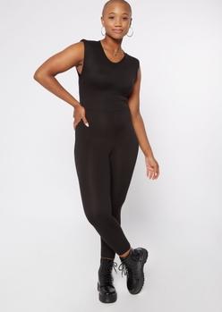 black sleeveless shoulder pad jumpsuit - Main Image