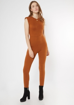 cognac sleeveless shoulder pad jumpsuit - Main Image