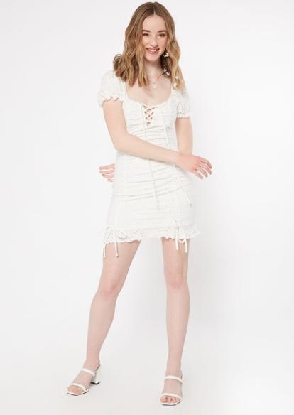 white eyelet puff sleeve mini dress - Main Image
