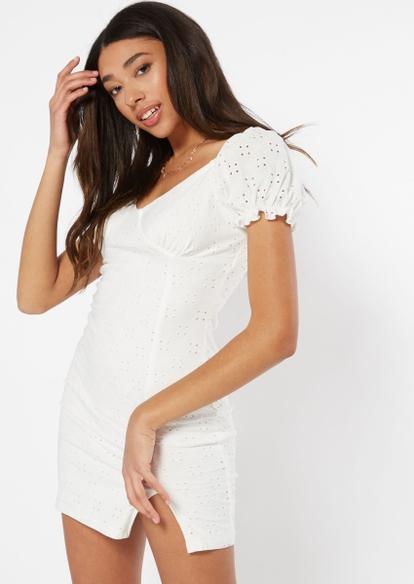 white puff sleeve eyelet dress - Main Image