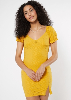 yellow eyelet puff sleeve mini dress - Main Image