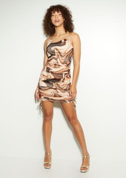 marble swirl chain strap ruched side mini dress - Main Image
