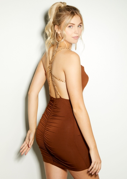 brown cowl neck open ruched back chain strap dress - Main Image