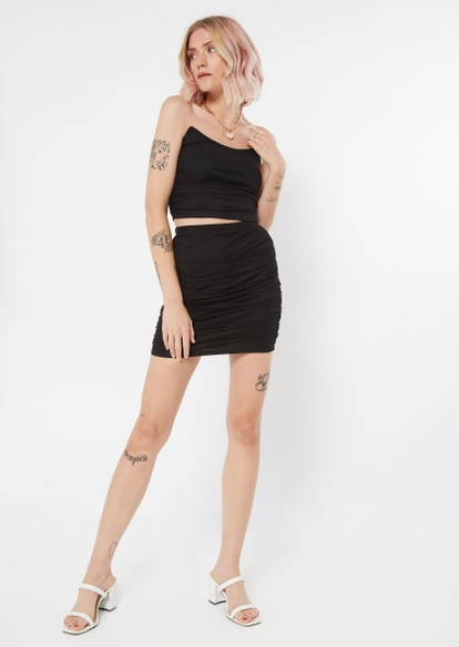 two piece black ruched mesh overlay skirt and cami set - Main Image