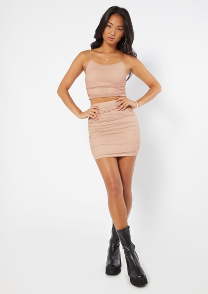 two piece beige ruched mesh overlay skirt and cami set - Main Image