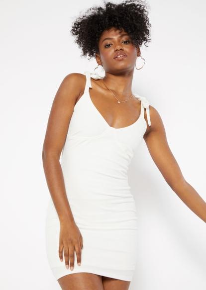 white ribbed knit tied shoulder strap dress - Main Image