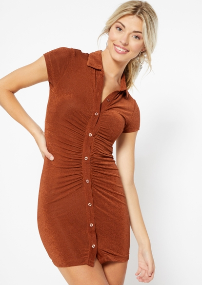 brown ruched button front polo dress - Main Image
