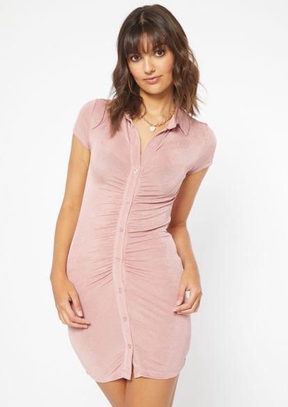 medium pink ruched button front polo dress - Main Image