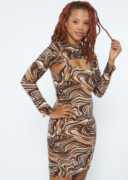 two piece marble swirl shrug dress set - Main Image