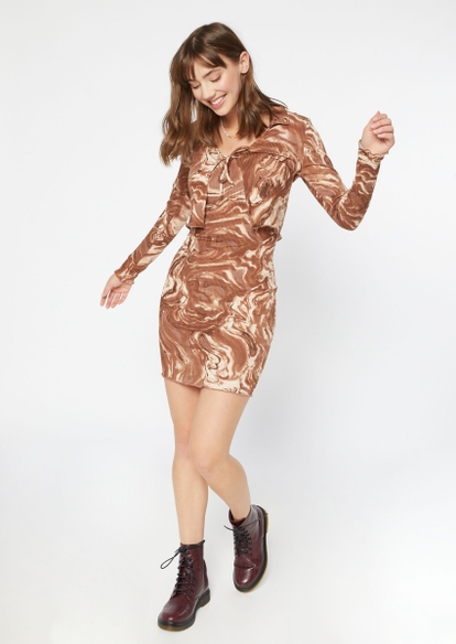 brown swirl print cardi and mini dress set - Main Image