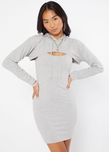 two piece heather gray hoodie shrug dress set - Main Image