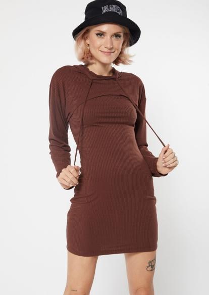 two piece brown hoodie shrug dress set - Main Image