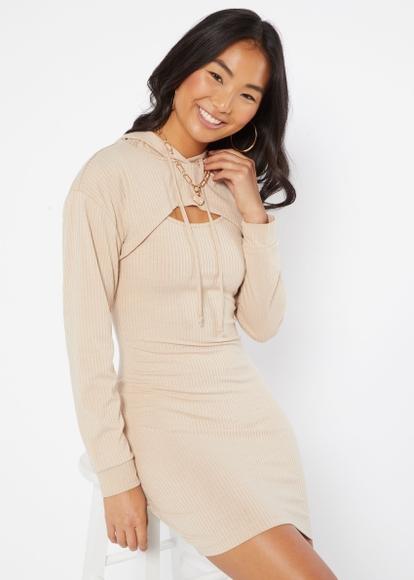 two piece beige hoodie shrug dress set - Main Image