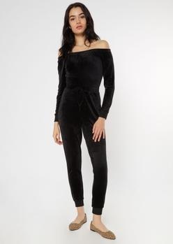 black velour off the shoulder jumpsuit - Main Image