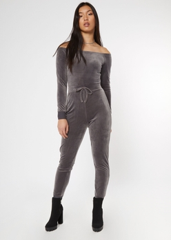 gray velour off the shoulder jumpsuit - Main Image