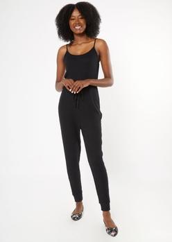 black sleeveless hacci jumpsuit - Main Image