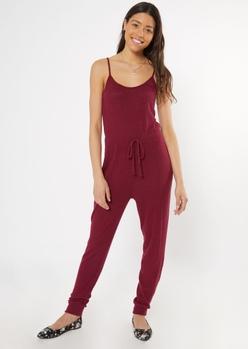 burgundy sleeveless hacci jumpsuit - Main Image