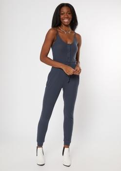 charcoal gray buttoned super soft hacci jumpsuit - Main Image