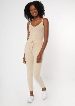 tan buttoned super soft hacci jumpsuit - Main Image