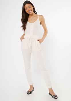 light pink buttoned super soft hacci jumpsuit - Main Image
