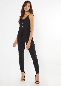 black ribbed knit faux button jumpsuit - Main Image