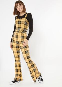 yellow plaid flare jumpsuit - Main Image