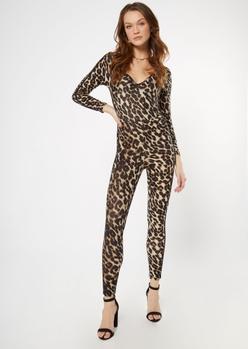 cheetah print deep v neck catsuit - Main Image