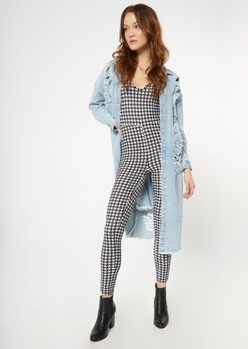 houndstooth print deep v neck catsuit - Main Image