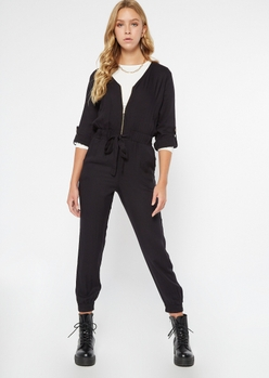 black zippered front tabbed sleeve jumpsuit - Main Image