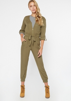 olive zippered front tabbed sleeve jumpsuit - Main Image