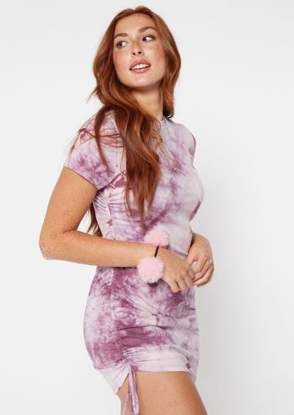 purple tie dye drawstring side ruched dress - Main Image