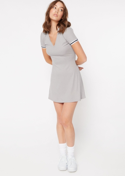 heather gray super soft striped sleeve polo dress - Main Image