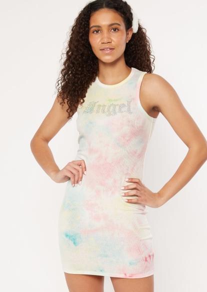 pastel rhinestone angel tank top dress - Main Image