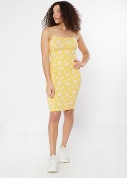 yellow daisy bungee square neck bodycon dress - Main Image