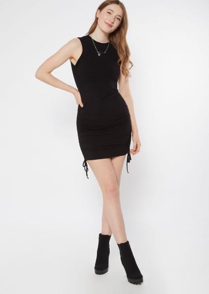 black ruched side mini dress - Main Image