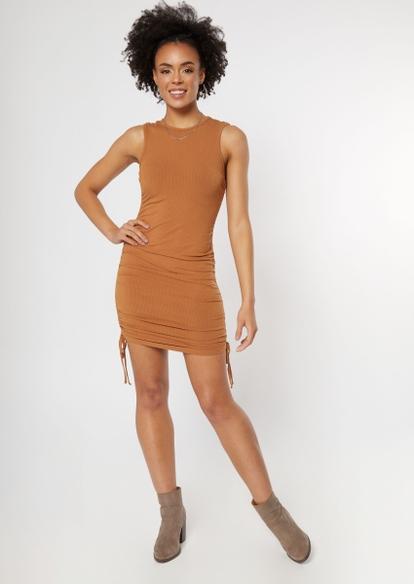 camel ruched side mini dress - Main Image