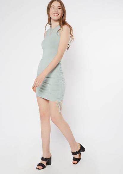 light blue ruched side mini dress - Main Image