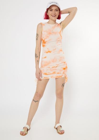 cream tie dye ruched side mini dress - Main Image
