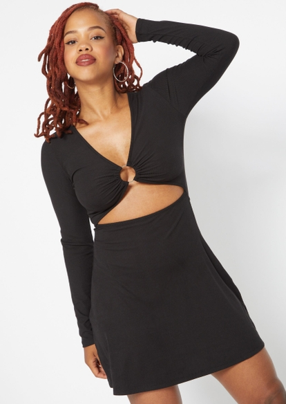 black o ring cutout flare dress - Main Image
