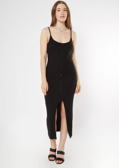 black faux button front slit midi dress - Main Image