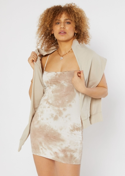 nude tie dye print super soft bodycon bungee strap dress - Main Image