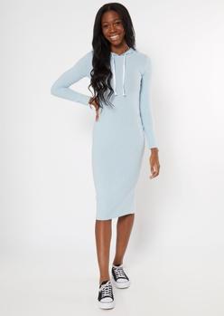 blue ribbed knit midi hoodie dress - Main Image